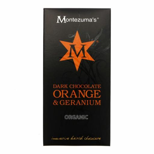 Dark Choc, Geranium & Orange by Montezumas - 100g